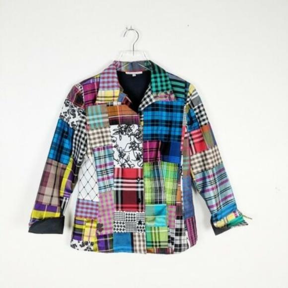 Marisa Baratelli Jackets & Blazers - NWOT Marisa Baratelli Thai Silk Blazer Patchwork
